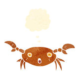 Retro cartoon crab with thought bubble Royalty Free Stock Photo