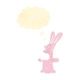 retro cartoon crazy pink rabbit Stock Image
