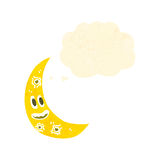 Retro cartoon crescent moon with face Stock Photography