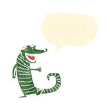 Retro cartoon crocodile with speech bubble Royalty Free Stock Photography