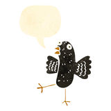 Retro cartoon crow with speech bubble Stock Photography
