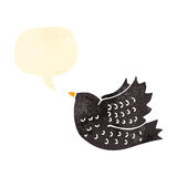 Retro cartoon crow with speech bubble Stock Image
