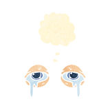 Retro cartoon crying eyes with thought bubble Royalty Free Stock Images