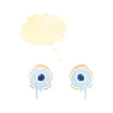 Retro cartoon crying eyes with thought bubble Royalty Free Stock Photo