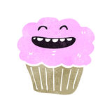 Retro cartoon cupcake Stock Image