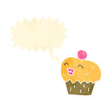 retro cartoon cupcake with face Royalty Free Stock Photography