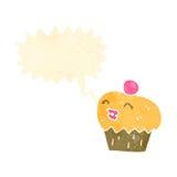 retro cartoon cupcake with face Royalty Free Stock Photography