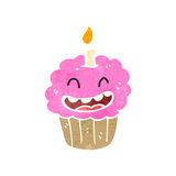 Retro cartoon cupcake with face Royalty Free Stock Images