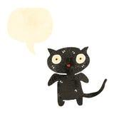 Retro cartoon cute black cat. Retro cartoon with texture. Isolated on White Royalty Free Stock Photo