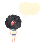Retro cartoon cute cloud head creature with  speech bubble Stock Photo
