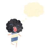 Retro cartoon cute cloud head creature with thought bubble Stock Images
