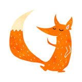 Retro cartoon cute fox Royalty Free Stock Images