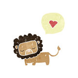 retro cartoon cute lion with love heart Stock Photography