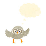 retro cartoon cute little owl Stock Image