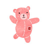 Retro cartoon cute pink teddy bear Royalty Free Stock Image