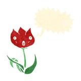 retro cartoon cute shouting flower Stock Images