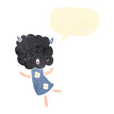 Retro cartoon cute storm cloud head girl Royalty Free Stock Photography