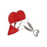 Retro cartoon cutting heart Royalty Free Stock Photo