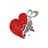 Retro cartoon cutting heart Royalty Free Stock Photography