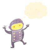 Retro cartoon dancing baby astronaut. Retro cartoon with texture. Isolated on White vector illustration