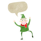 Retro cartoon dancing christmas elf Stock Image