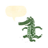 retro cartoon dancing crocodile Stock Photo