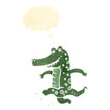 retro cartoon dancing crocodile Royalty Free Stock Image