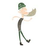 Retro cartoon dancing man with beard Stock Images