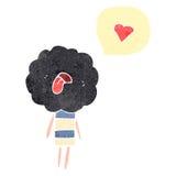 Retro cartoon dead head cloud creature with love heart Stock Image