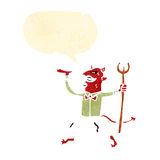 Retro cartoon devil with pitch fork Royalty Free Stock Photography