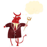 Retro cartoon devil in suit Royalty Free Stock Images