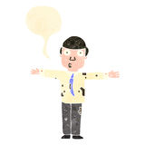Retro cartoon dirty businessman with speech bubble Stock Photography