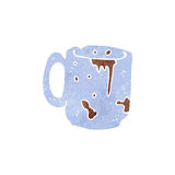 Retro cartoon dirty old coffee mug Stock Images