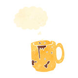 Retro cartoon dirty old work mug with thought bubble Royalty Free Stock Image