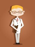 Retro cartoon doctor. Illustration Stock Photos