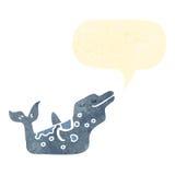 Retro cartoon dolphin with speech bubble. Retro cartoon with texture. Isolated on White Royalty Free Stock Image