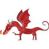 Retro cartoon dragon. Retro cartoon illustration. On plain white background Stock Images