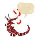 retro cartoon dragon with speech bubble Stock Photography