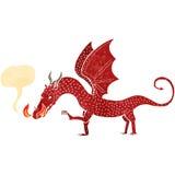 retro cartoon dragon with speech bubble Royalty Free Stock Photo