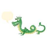 retro cartoon dragon with speech bubble Stock Photo