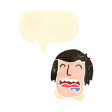 Retro cartoon drooling man with speech bubble Royalty Free Stock Images
