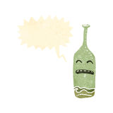 retro cartoon drunk wine bottle Royalty Free Stock Image