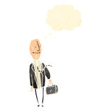 Retro cartoon egghead businessman Stock Photos