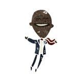 Retro cartoon ego businessman. Retro cartoon with texture. Isolated on White Stock Photos