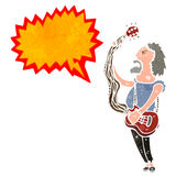 Retro cartoon electric guitar player Royalty Free Stock Images