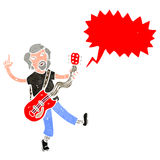 Retro cartoon electric guitar player Stock Photos