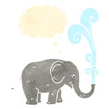 Retro cartoon elephant squirting water Stock Image