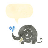 Retro cartoon elephant squirting water Stock Photography