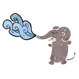 Retro cartoon elephant squirting water Royalty Free Stock Photos