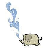 Retro cartoon elephant squirting water Stock Photos